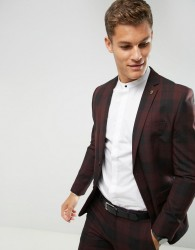 Farah Skinny Suit Jacket In Check - Red