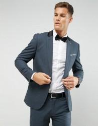 Farah Skinny Suit Jacket In Melange With Satin Collar - Green