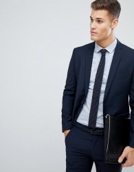 Farah Skinny Suit Jacket In Navy - Navy