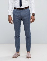Farah Skinny Suit Trousers In Prince Of Wales Check - Blue