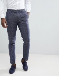 Farah Skinny Suit Trousers In Twisted Yarn - Navy
