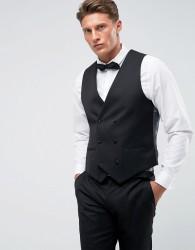 Farah Skinny Tuxedo Double Breasted Waistcoat - Black