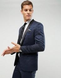 Farah Skinny Tuxedo Suit Jacket In Jacquard - Navy