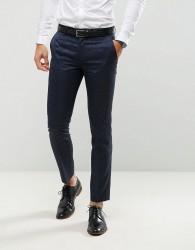 Farah Skinny Tuxedo Suit Trousers In Jacquard - Navy
