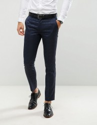 Farah Skinny Tuxedo Suit Trousers In Jacquard - Navy