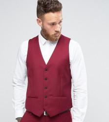 Farah Skinny Waistcoat In Burgundy - Red