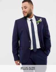 Farah skinny wedding suit jacket in linen - Navy