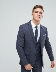 Farah Skinny Wedding Suit Jacket In Navy Fleck - Navy
