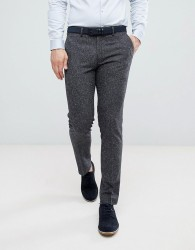 Farah Skinny Wedding Suit Trousers In Charcoal Fleck - Grey
