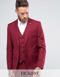 Farah Slim Fit Bright Heron Twill Suit Jacket - Red