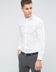 Farah Slim Smart Grandad Shirt - White