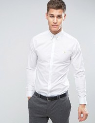 Farah Slim Smart Shirt With Collar Bar - White