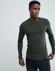 Farah Southall super slim fit logo long sleeve t-shirt in green - Green