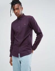 Farah Steen Slim Fit Brushed Oxford Weave Shirt In Purple - Purple