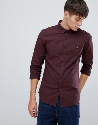 Farah Steen slim fit textured shirt in burgundy - Red