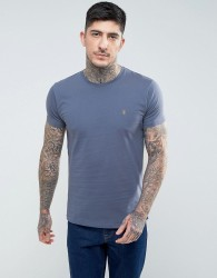 Farah T-Shirt With F Logo In Slim Fit In Slate Blue - Blue