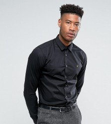 Farah TALL Classic Shirt In Slim Fit With Stretch - Black