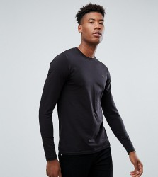 Farah TALL Farris Slim Fit Long Sleeve T-Shirt in Black - Black