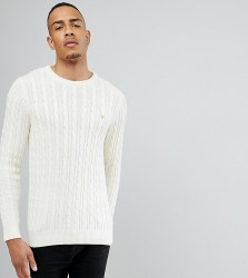 Farah TALL Lewes Twisted Marl Cable Jumper in Cream - Cream