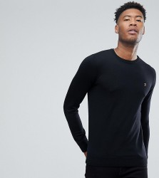 Farah TALL Mullen Slim Fit Merino Jumper in Black - Black