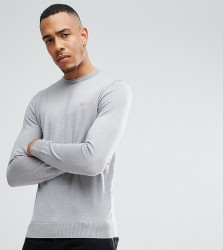 Farah TALL Mullen Slim Fit Merino Jumper in Light Grey - Grey