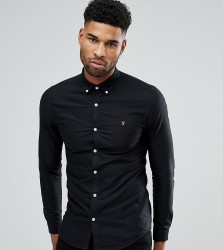 Farah TALL Skinny Fit Button Down Oxford Shirt In Black - Black