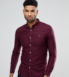 Farah TALL Skinny Fit Button Down Oxford Shirt In Burgundy - Red