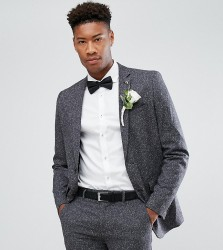 Farah TALL Skinny Wedding Suit Jacket In Fleck - Grey