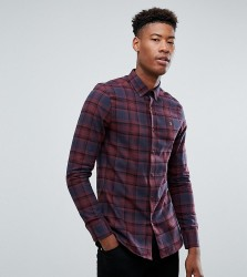 Farah TALL Waithe Slim Fit Check Shirt in Red - Red