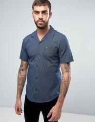 Farah Trebant Short Sleeve Shirt Stripe Print Revere Collar Slim Fit in Navy - Navy