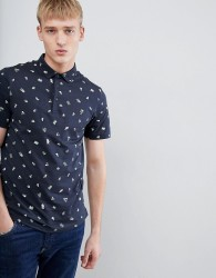 Farah Wilfridslim fit printed polo in navy - Navy