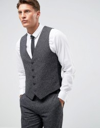 Farah Winter Wedding Skinny Waistcoat In Fleck - Grey