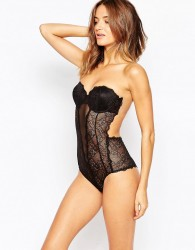 Fashion Forms Lace Backless Strapless Body - Black