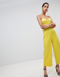 Fashion Union Cami Jumpsuit With Tie Back In Satin - Yellow