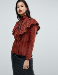 Fashion Union Check Shirt With Ruffle Layer - Red
