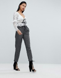 Fashion Union Check Trousers With Paperbag Waist - Black