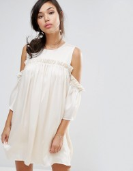 Fashion Union Cold Shoulder Dress With Frill - Beige
