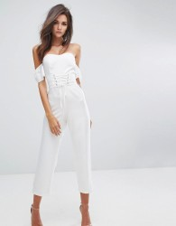 Fashion Union Cold Shoulder Jumpsuit With Corset Waist - White