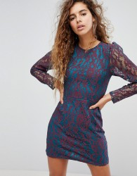 Fashion Union Dress With Contrast Lace Detail - Multi
