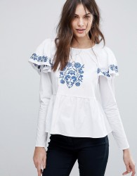 Fashion Union Embroidered Blouse With Puff Sleeves - White