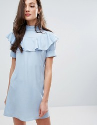 Fashion Union Frill Front Shift Dress - Blue