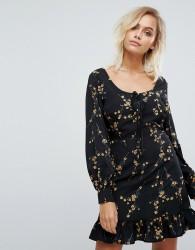 Fashion Union Frill Hem Dress With Lace Up Detail - Black