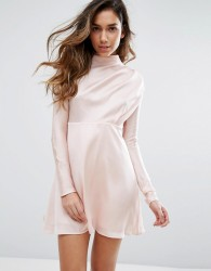 Fashion Union High Neck Dress In Satin - Pink