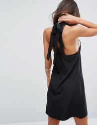 Fashion Union High Neck Dress With Lace Back - Black