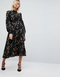 Fashion Union High Neck Midi Dress In Grunge Floral Print - Black