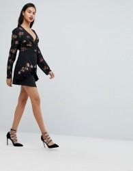 Fashion Union Layered Mini Skirt With Embroidery - Black
