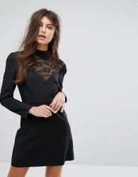 Fashion Union Long Sleeve Dress With High Neck In Lace - Black