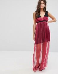 Fashion Union Maxi Dress With Sheer Metallic Spot Mesh Layer - Pink