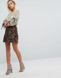 Fashion Union Pelmet Skirt In Firefly Brocade - Multi