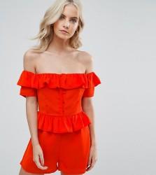 Fashion Union Petite Bardot Ruffle Detail Playsuit - Red